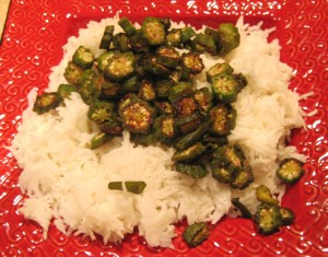basmati rice  and crispy okra croutons