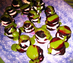 Chris' beet, cream cheese and basil Napoleons
